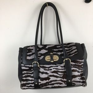 e- Ann Taylor calf hair black and white satchel